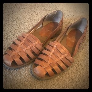Crown Vintage Brown Leather Huarache Sandal,Size 7